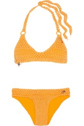 Stella Mccartney Embellished Crocheted Stretch Cotton Blend Bikini Mustard