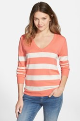 Bp Stripe V Neck Pullover Juniors Orange