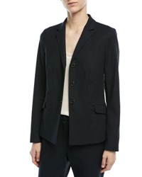 Escada 3 Button Unlined Jacket With Side Slits Navy