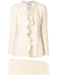 Chanel Vintage Ruffled Skirt Suit Nude And Neutrals