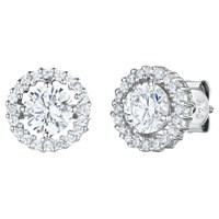 Jools By Jenny Brown Cubic Zirconia Double Diamonte Circle Stud Earrings Silver