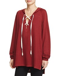 Project Social T Bali Lace Up Pullover Burgandy