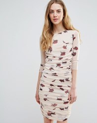 Ganni Silverstone Mesh Ruched Carnation Print Bodycon Dress Red Carnation Flower Cream