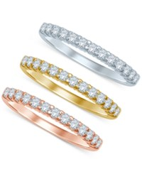 Macy's Diamond Tri Color Stackable Bands 3 8 Ct. T.W. In 14K Gold White Gold And Rose Gold Yellow White Rose Gold