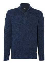 Army And Navy Forest Funnel Neck Button Jumper Navy
