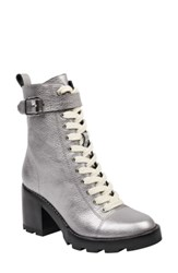 Marc Fisher Ltd Waren Combat Boot Pewter Leather