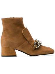 Alberto Gozzi Chain Embellished Ankle Boots Nude And Neutrals