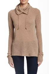Cullen Drawstring Scrunch Neck Cashmere Sweater Beige