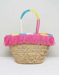 South Beach Fringe Straw Bag With Wrapped Handles Multi