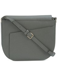 Valextra Asymmetric Closure Crossbody Bag Grey