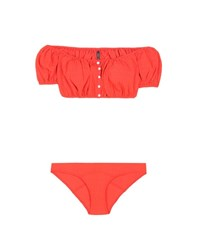 Lisa Marie Fernandez Leandra Seersucker Button Down Bikini Red