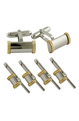 David Donahue Men's Gold And Sterling Silver Cuff Link And Stud Set Silver 14K Gold Stud Set