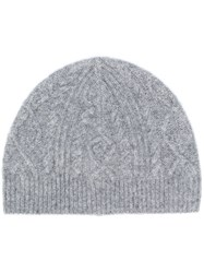 Pringle Of Scotland Cable Stitch Beanie Grey
