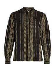 Zeus Dione Elis Geometric Jacquard Silk Blend Shirt Black Gold
