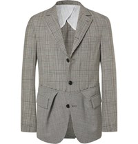 Wooster Lardini Black Slim Fit Prince Of Wales Checked And Puppytooth Wool Blazer Black