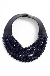 Women's Fairchild Baldwin Multirow Beaded Collar Necklace Dark Blue