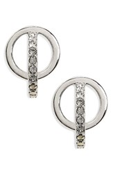 Judith Jack Women's Silver Sparkle Circle Stud Earrings Black Diamond Marcasite