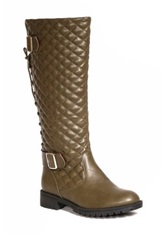 Bucco Quilted Back Lace Up Tall Boot Green