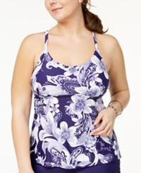Island Escape Plus Size Spring Time Shore Printed Strappy Back Underwire Tankini Top Created For Macy's Swimsuit Navy White