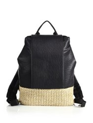 Urban Originals Dune Diamond Faux Leather And Straw Backpack Black