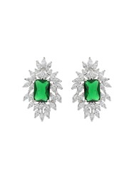 Mikey Cubic Rectangle Edged Spike Earring Green