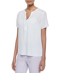 Nydj Pop Over Short Sleeve Blouse White Women's