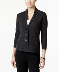 Alfani Three Button Knit Jacket Only At Macy's Coal Melange