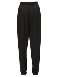 The Row Francis High Rise Wool Tapered Leg Trousers Black