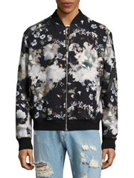Msgm Floral Bomber Jacket Black Multi