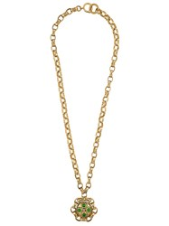 Chanel Vintage Quilted Chain Necklace Metallic