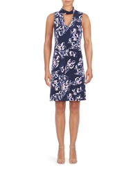 Ivanka Trump Printed Mockneck Dress Navy