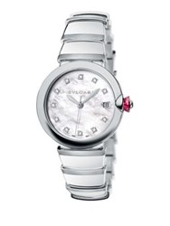 Bulgari Lvcea Diamond Mother Of Pearl And Stainless Steel Bracelet Watch Silver