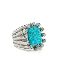 Stephen Dweck Carved Turquoise Cocktail Ring Blue Silver