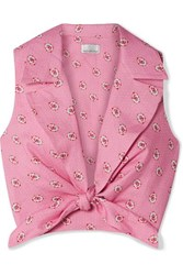 Miguelina Jill Cropped Tie Front Printed Linen Top Pink