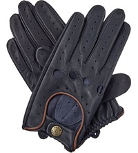 Dents Leather Driving Gloves Navy Tan