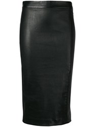 Theory Nappa Pencil Skirt Black