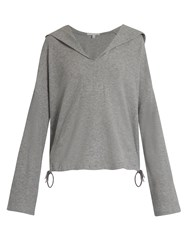Skin Waffle Knit Cotton Hooded Top Grey