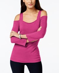 Inc International Concepts Long Sleeve Cold Shoulder Top Only At Macy's Intense Pink