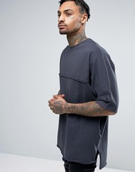 Asos Super Oversized T Shirt With Batwing Sleeve And Raw Edges Gray