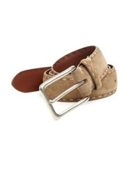 Saks Fifth Avenue Contrast Stitch Suede Belt Taupe