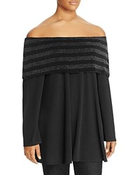 Nally And Millie Plus Metallic Stripe Off The Shoulder Tunic Black
