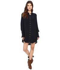 Free People Lieutenant Shirtdress Mini Black Women's Dress