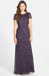 Petite Women's Adrianna Papell Short Sleeve Sequin Mesh Gown Amethyst Gunmetal