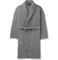 Alanui Fringed Cable Knit Cashmere And Wool Blend Cardigan Gray