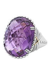 Lagos Sterling Silver And 18K Yellow Gold Oval Amethyst Statement Ring Size 7 Metallic