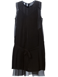 Blk Dnm Pleated Belted Dress