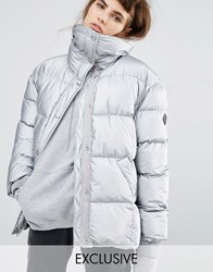 Puffa Oversized Padded Jacket In Metallic Silver Silver