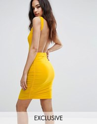 Club L Open Back Mini Dress Gold Yellow