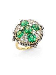 Ivy Rose Cut Diamond And Green Tsavorite Ring
