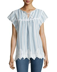 Neiman Marcus Striped Short Sleeve Blouse Blue White
